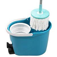 Комплект для уборки: швабра с телескопической рукояткой и ведро с механическим отжимом