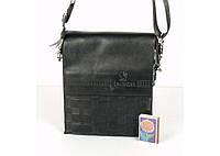 Мужская сумка Bradford 916-1 черная маленькая на три отдела искусственная кожа размер 17х21х7см