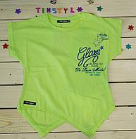 Модная футболка на девочку Стиль салатовая   рост 128-164