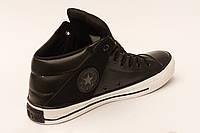 Кеды Converse  All Star чёрные высокие кожанные