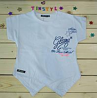 Модная футболка на девочку Стиль беленькая   рост 128-164