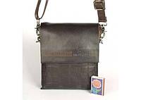 Мужская сумка Bradford 916-1 коричневая маленькая на три отдела искусственная кожа размер 17х21х7см