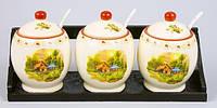 Набор 3 банки 300мл для сыпучих продуктов с керамическими ложками на деревянной подставке
