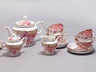 """Чайный сервиз """"Букет роз"""" 220мл 15 предметов: 6 чашек, 6 блюдец, чайник, молочник и сахарница"""
