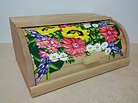 Хлебница деревянная расписная, подсолнух с цветами