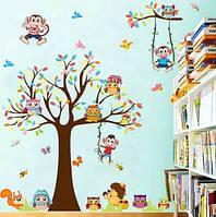 """Интерьерная наклейка на стену в детскую - """"Дерево с обезьянками"""" XL8192"""