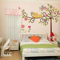 """Интерьерная наклейка на стену в детскую """"Дерево с совками. Совы"""""""