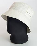 Мужская летняя панама лен с карманом серо-белого цвета.