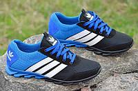 Кроссовки мужские летние сетка, кожа, замша Adidas адидас реплика черные с синим 2017. Экономия