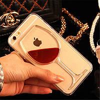 """Пластиковый чехол с жидкостью """"Бокал"""" для iPhone 4/4S"""