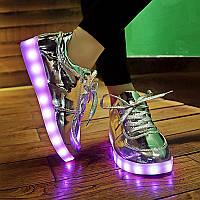 Светящиеся LED кроссовки зеркальные с зарядкой от USB., фото 1