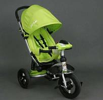 Трёхколёсный велосипед салатовый со звуком светом водительская консоль Best Trike надувные колёса