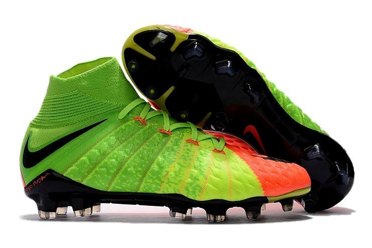 6b1140fd Футбольные бутсы Nike Hypervenom Phantom III DF FG Electric  Green/Black/Hyper Orange -