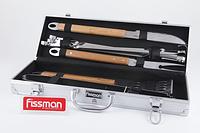 Набор инстр. для барбекю из нерж. стали с бамбук. ручками в чемодане (10 пр.) Fissman (BQ-1017.10)