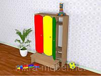Шкаф трёхсекционный с лавкой цветной (1919*320*1400h)