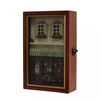 """Ключница  настенная, деревянная -""""Flower shop"""", фото 2"""