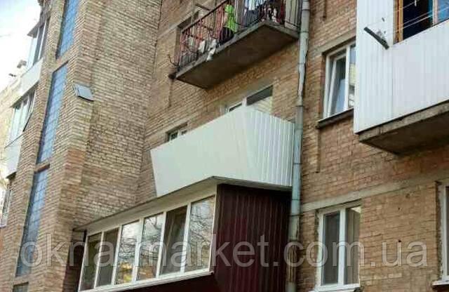 Обшивка балконов профнастилом, Киев ул. Дашавская