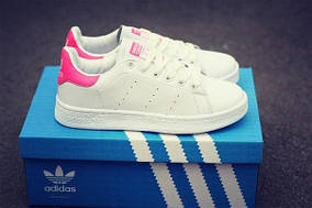 Кроссовки женские Аdidas Stan Smith Black/girl, pink and orange