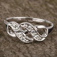 """Кольцо """"Синдерелла"""" с кристаллами Swarovski, покрытое платиной (108220)"""