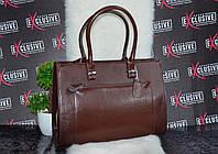 Элитная коричневая кожаная сумка с карманом.