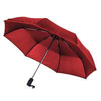 Зонт складной автоматический, ручка пластик, темно-красный, от 10 шт.