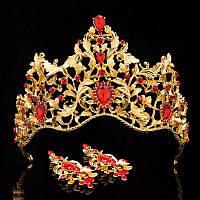 Диадема корона и серьги набор Герда Голд красная корона украшения для волос