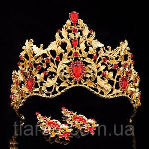 Диадема МАДОННА корона и серьги набор красная корона высокая диадемы свадебные аксессуары для волос