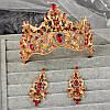 Диадема МАДОННА корона и серьги набор красная корона высокая диадемы свадебные аксессуары для волос, фото 5