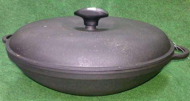 Сковорода вок чавунна з кришкою 300х90мм «Сітон»