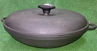 Сковорода вок чугунная с крышкой 300х90мм «Ситон»