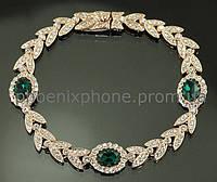 Ослепительный браслет с кристаллами Swarovski, покрытый золотом (700341)