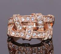 Кольцо в индивидуальном дизайне с переливающимися австрийскими кристаллами, покрытое золотом (109290)