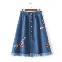 Джинсовая юбка за колена, фото 1