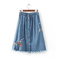 Удлиненная джинсовая юбка с вышивкой, фото 1