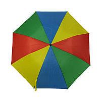 Зонт складной полуавтоматический,  ручка пластик, разноцветный.