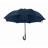 Зонт-трость полуавтомат, с карбоновым держателем, прорезиненная ручка, темно-синий, от 10 шт.