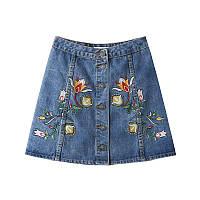 Джинсовая юбка с вышивкой, фото 1