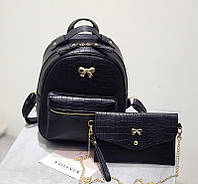 Рюкзак женский кожаный с бантиком + клатч (черный)