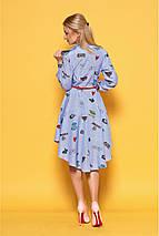Яркое коттоновое летнее женское платье интересного фасона, фото 3