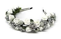 Обруч для волос белый Розы и ягоды