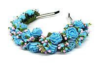 Обруч для волос для девушки с голубыми цветами