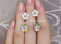 Серебряные серьги с фианитами Цветочки
