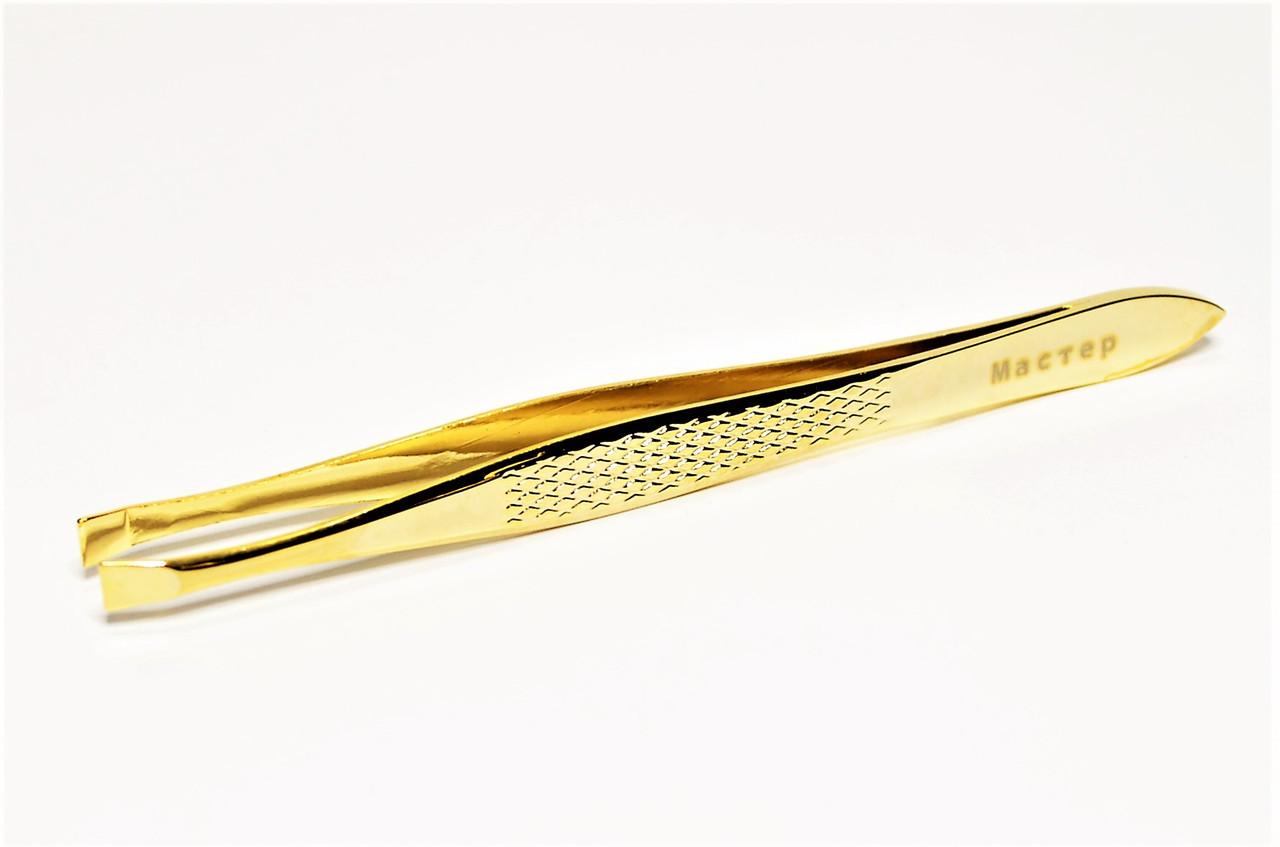 Пинцет для бровей ровный золотой Мастер 016/2