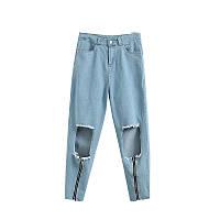Рваные джинсы с молнией, фото 1