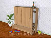 Шкаф детский пятисекционный с лавкой (520*300*1400h)