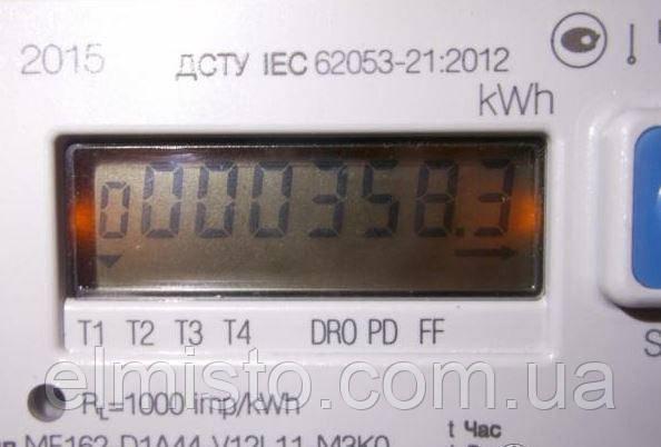 """МЕ162  нажатие на кнопку """"Scroll"""" дает информацию о количестве киловатт, потребленных в дневное время суток с 7.00 до 23.00."""