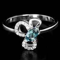 Серебряное кольцо с натуральными Топазами и Cz, фото 1