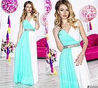 Вечернее женское платье двухцветное с поясом