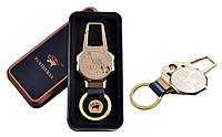 USB зажигалка в подарочной металлической коробке (брелок + фонарик) №4687C-4