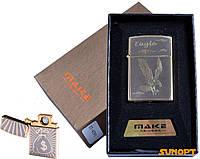 """USB зажигалка в подарочной упаковке """"MAKE"""" (спираль накаливания) №4791-4"""